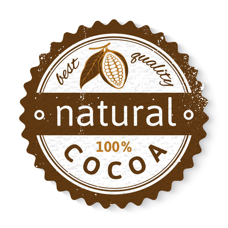 cocoa: natural cocoa round stamp with type design