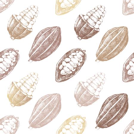 茶色の背景にココア豆を手描かれたシームレス パターン