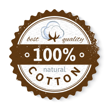 cotton plant: Stamp with cotton plant and text design best quality - 100 natural cotton Illustration