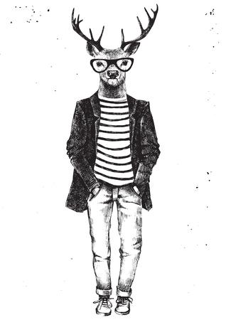 Dessinés à la main en noir et blanc habillé de cerfs hipster. Illustration vectorielle dans le style hipster Banque d'images - 63266687