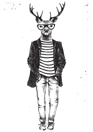 anthropomorphism: Hand drawn black and white dressed up hipster deer. Vector illustration in hipster style
