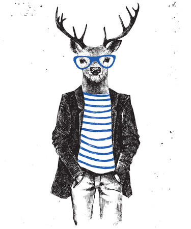 anthropomorphism: Hand drawn dressed up hipster deer. Vector illustration in hipster style