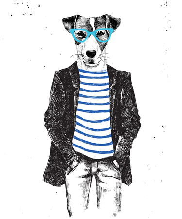 Hand drawn dressed up hipster dog. Vector illustration in hipster style