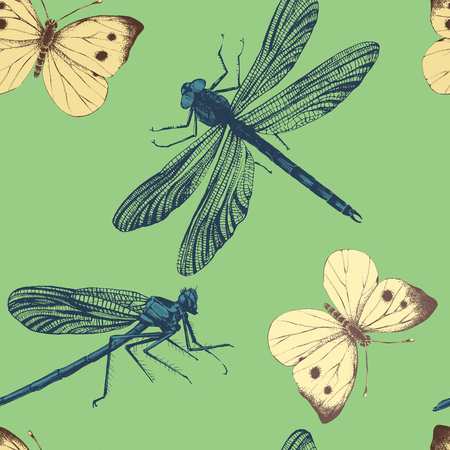 seamless pattern with hand drawn dragonflies and butterflies
