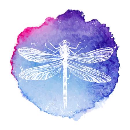 hand getekend dragonfly op heldere aquarel achtergrond