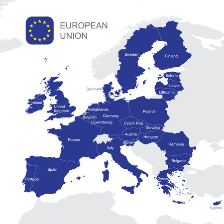 The European Union highly detailed vector map