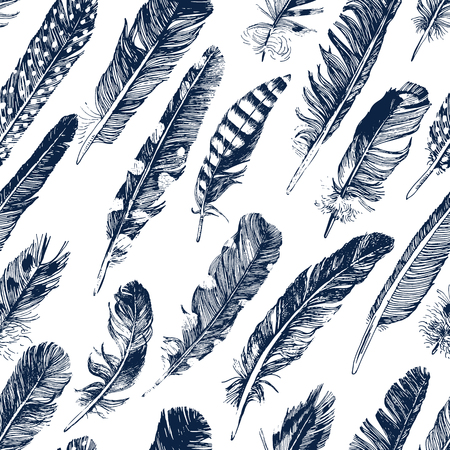 pen icon: seamless pattern with hand drawn feathers on white background