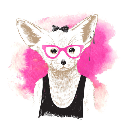 Hand drawn dressed up fennec over pink watercolor background
