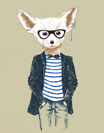 anthropomorphism: Hand drawn dressed up fennec in vintage style