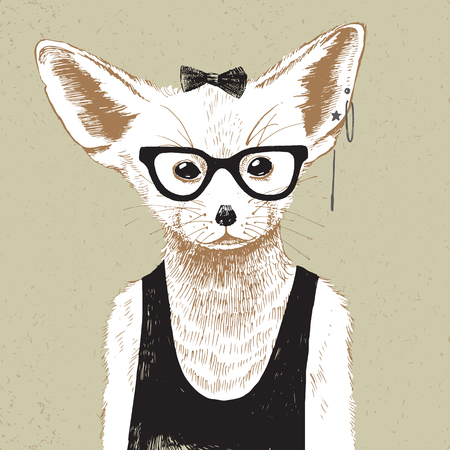 dressed: Hand drawn dressed up fennec in vintage style
