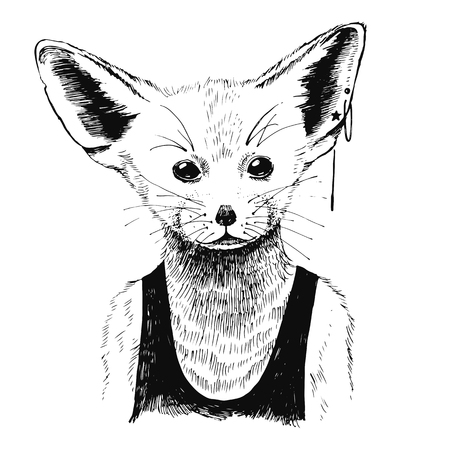 Hand drawn black and white dressed up fennec in hipster style