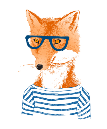 anthropomorphism: Colorful hand drawn dressed up fox in hipster style