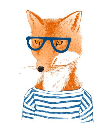Kleurrijke hand getrokken gekleed vos in hipster stijl Stock Illustratie