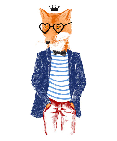 Colorful hand drawn dressed up fox in hipster style