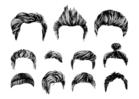 uncombed: Hand drawn hair styles vector set Illustration