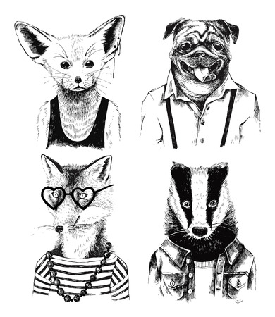 anthropomorphism: Hand drawn dressed up black and white badger in hipster style