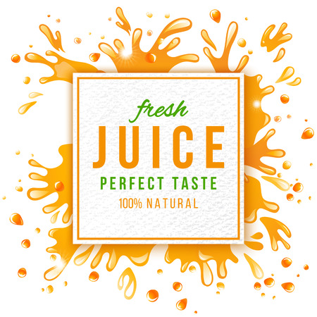 Paper emblem with type design and juice splashes