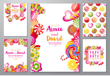 5 bright save the date backgrounds with candies Illustration
