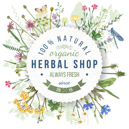 Herbal shop round emblem over wild herbs and flowers pattern. Easy to use in your organic and eco friendly designs