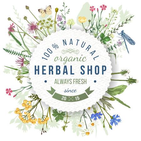 Ziołowy sklep okrągły emblemat na dzikich ziół i kwiatów wzorca. Łatwy do wykorzystania w organicznych i eko przyjaznych wzorów Ilustracje wektorowe