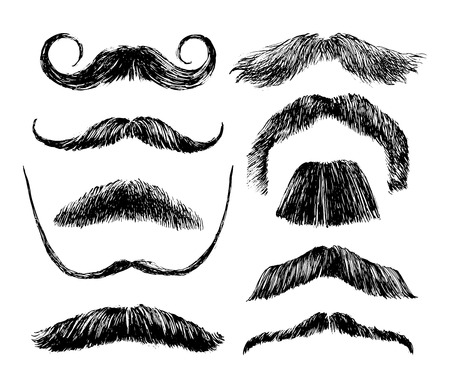 Hand drawn black and white mustache set Illustration
