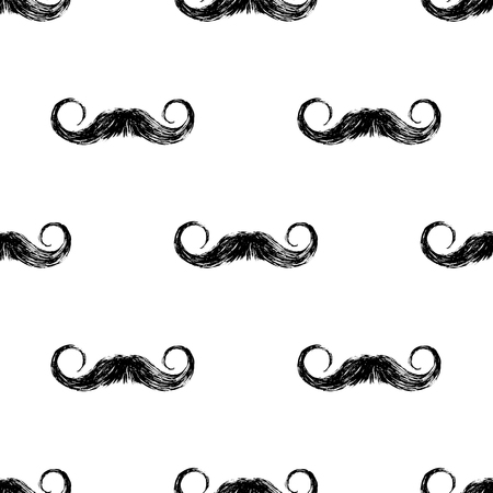 Hand drawn seamless pattern with mustaches Ilustração
