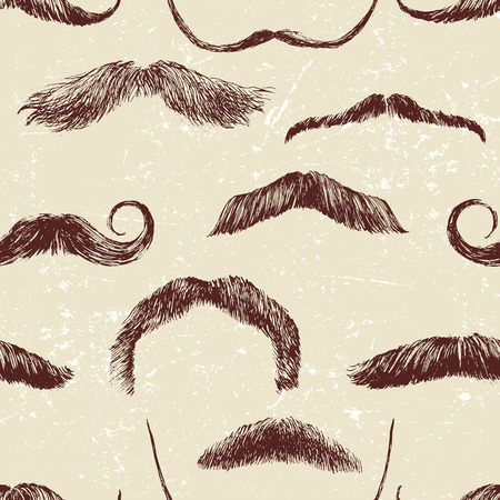 sideburns: Hand drawn seamless pattern with mustaches Illustration