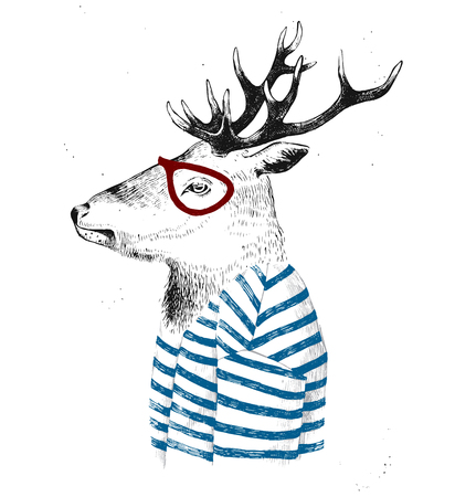 anthropomorphism: Hand drawn dressed up deer in hipster style