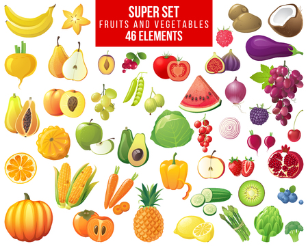 groenten, fruit en bessen super set - 46 elementen Stock Illustratie