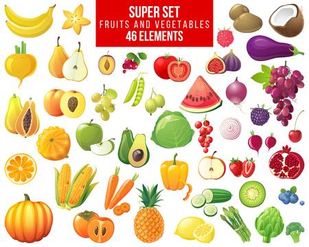 super zestaw owoców, warzyw i jagód - 46 elementów Ilustracje wektorowe