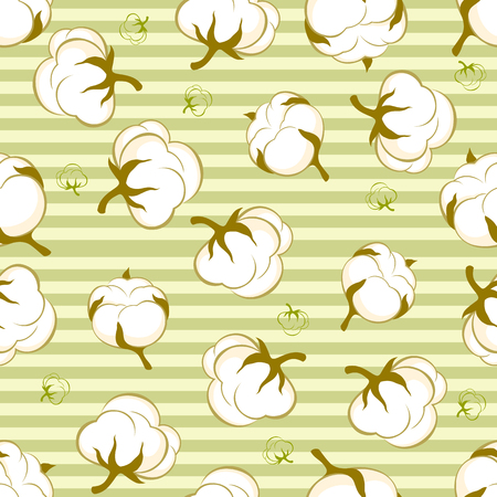 cotton plant: seamless pattern with cotton plant on green striped background