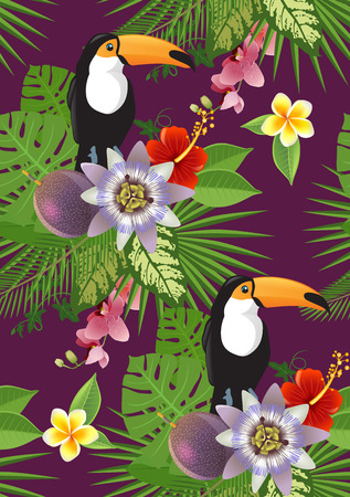 tropical plants: toucan and tropical plants and flowers seamless pattern