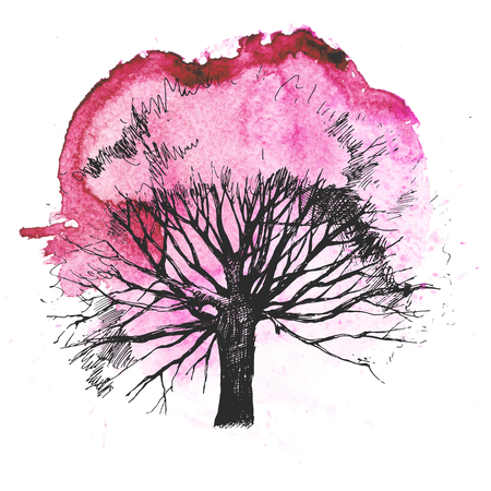 Hand drawn tree silhouette on white background