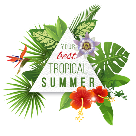 tropical flowers: Paper triangular emblem with type design and tropical flowers and plants