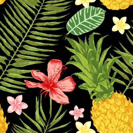 Bright hand drawn tropical seamless pattern.