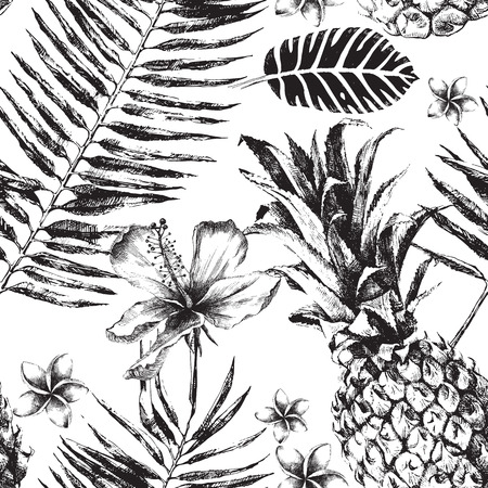 tropical: Hand drawn Seamless pattern with Tropical Palm Leaves, Flowers and Pineapples