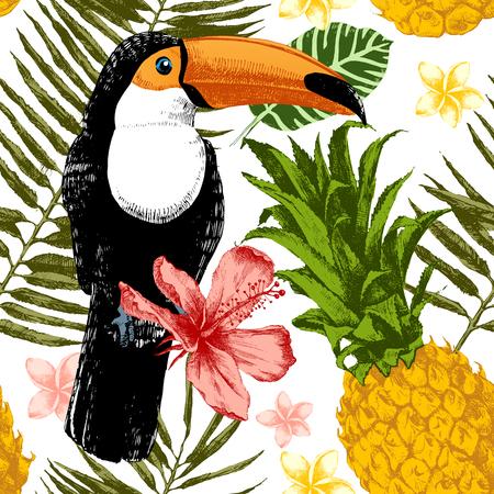 jungle plants: Bright hand drawn tropical seamless pattern.