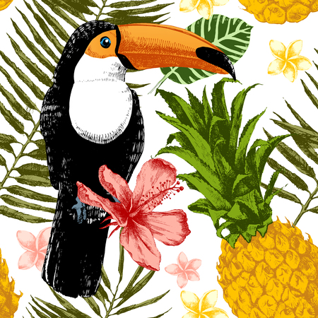 Bright hand drawn tropical seamless pattern.