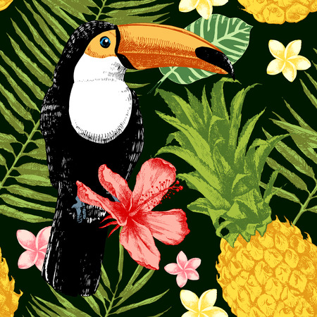 birds of paradise: Bright hand drawn tropical seamless pattern. Tropical theme background.