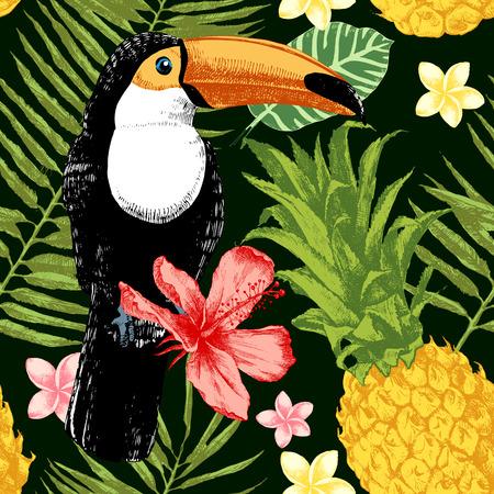 Jasny wyciągnąć rękę tropikalnych szwu wzorca. Tropical motywu tła. Ilustracje wektorowe