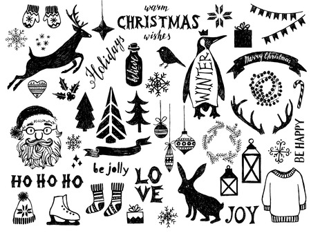 Hand drawn black and white Christmas design elements Vector Illustration