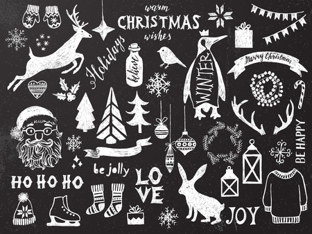 pinguin: Hand drawn black and white Christmas design elements