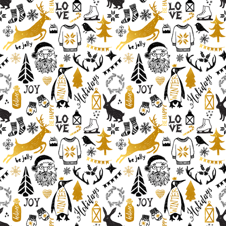 pinguin: Hand drawn black and golden Christmas seamless pattern