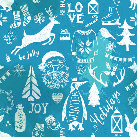 pinguin: Hand drawn Christmas seamless pattern on blue background