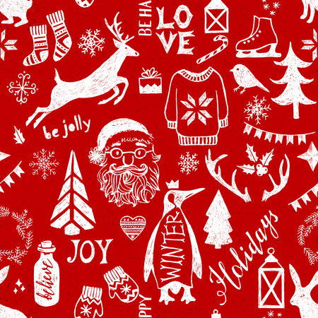 pinguin: Hand drawn Christmas seamless pattern on red background