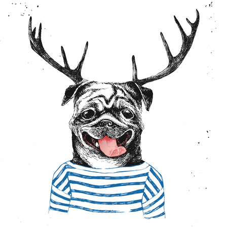 anthropomorphism: Hand drawn dressed up pug in hipster style with deer horns