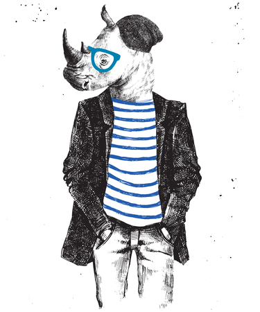 anthropomorphism: Hand drawn dressed up hipster rhino. Vector illustration in hipster style