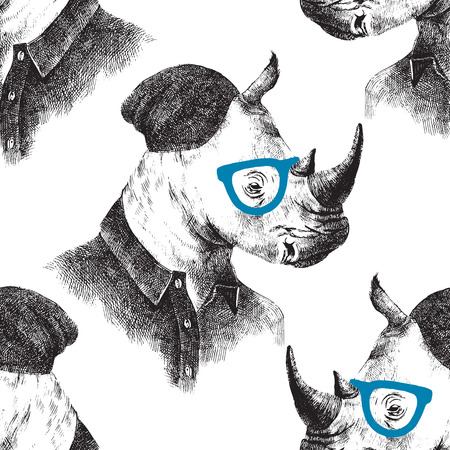 anthropomorphism: Hand drawn seamless pattern with dressed up rhino in hipster style Illustration