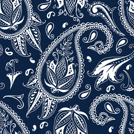 paisley seamless pattern: Hand drawn paisley seamless pattern Illustration