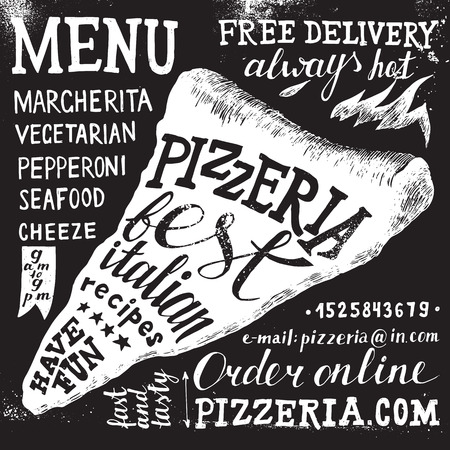 Pizzeria hand drawn black and white lettering Illustration